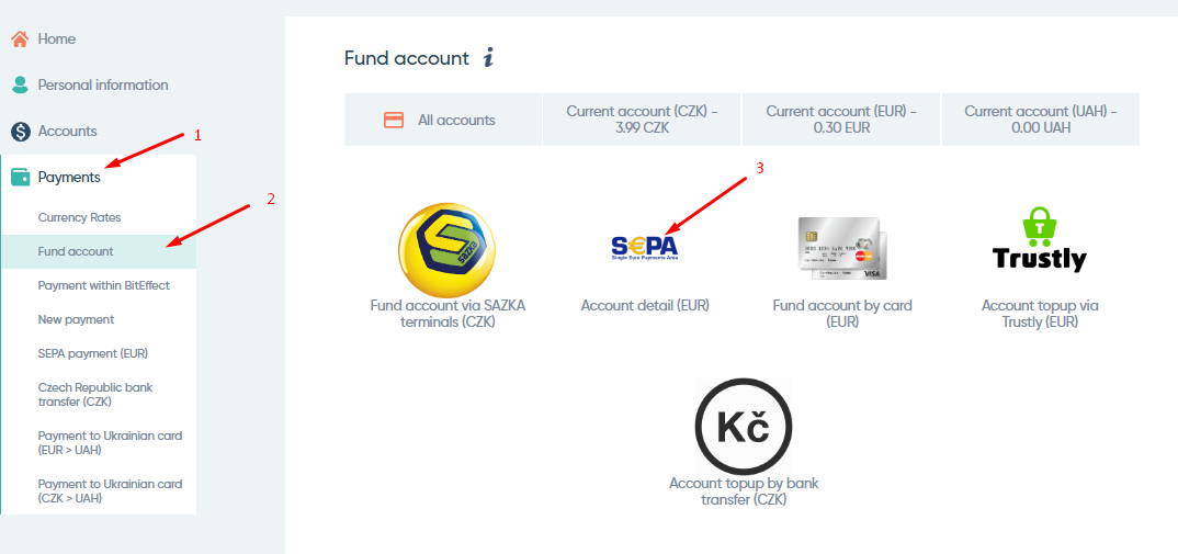 Fund account BitEffect by bank transfer