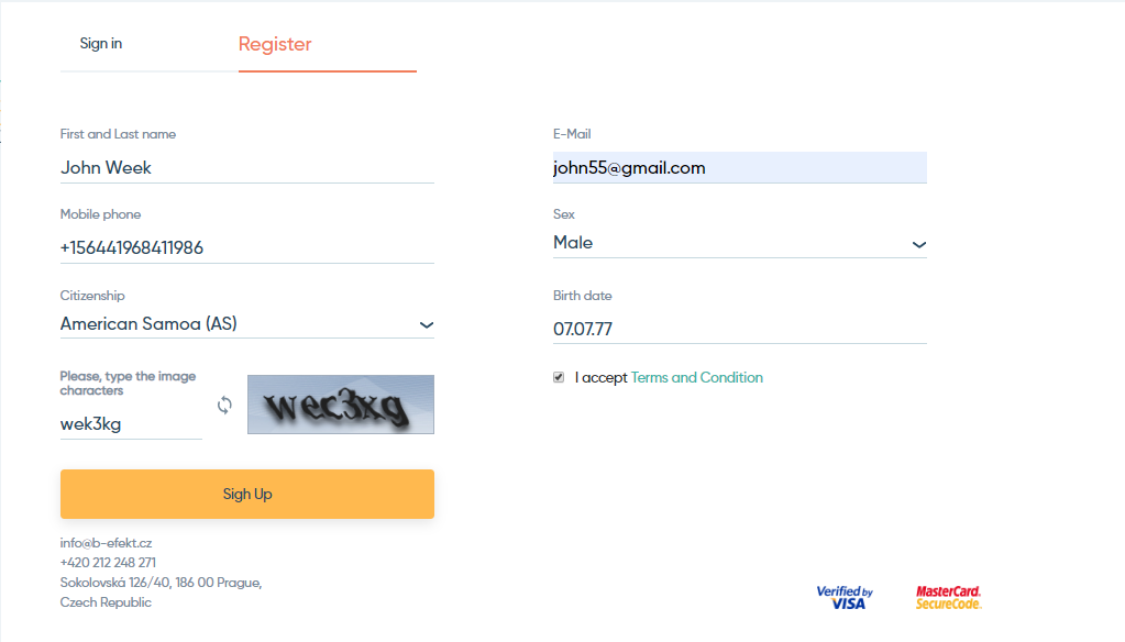 Registration in the BitEffect system