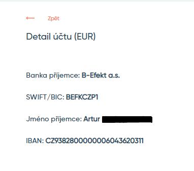 Vložení prostředků na účet BitEffect