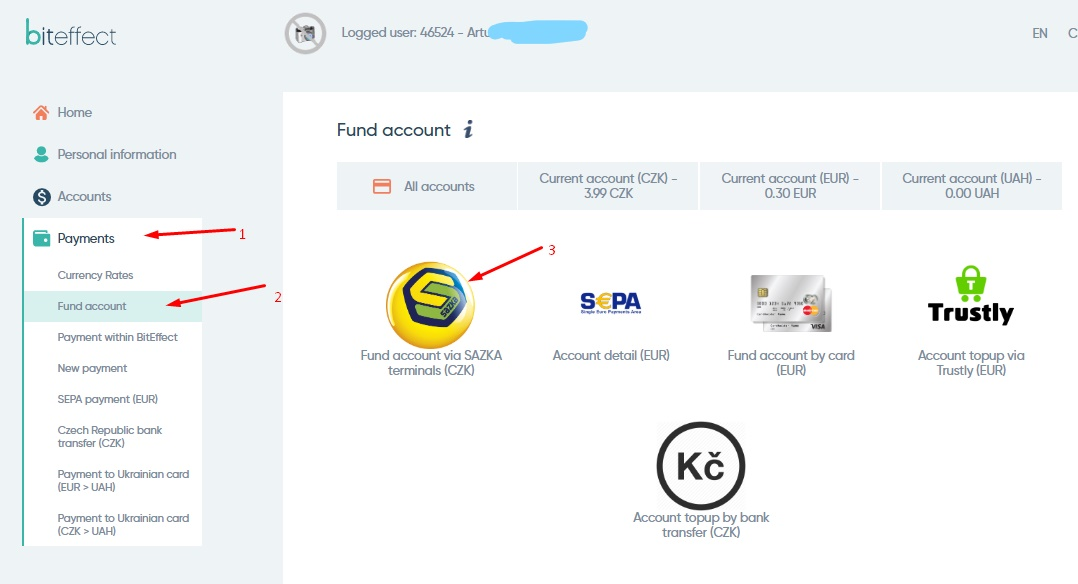 Fund account BitEffect by CASH