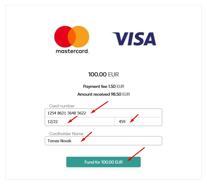 Fund account by card